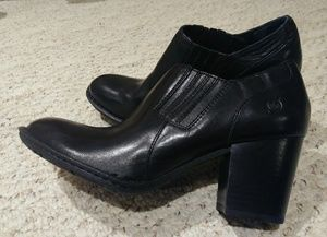 Born black leather ankle booties size 8.5